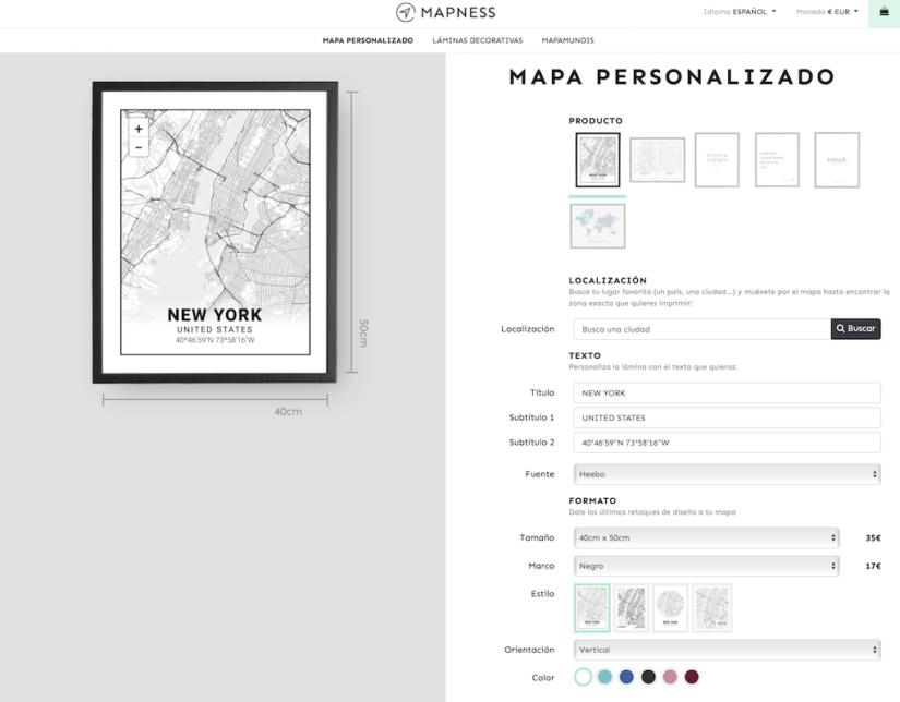 El editor de Mapness para personalizar tu mapa