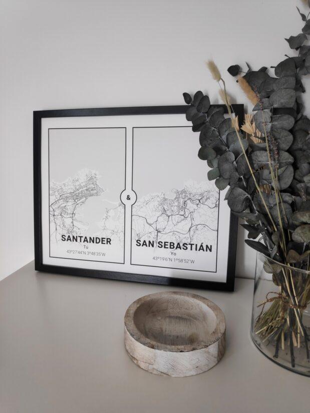 Un mapa 2 en 1 de Mapness: Santander & San Sebastián